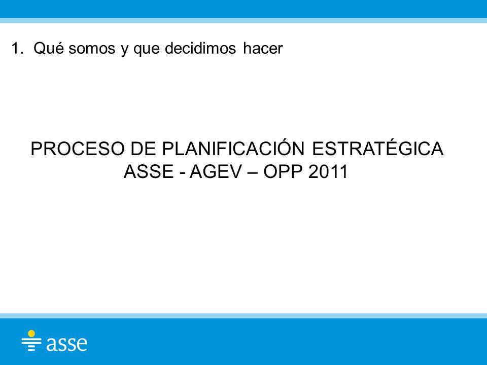 PROCESO DE PLANIFICACIÓN ESTRATÉGICA ASSE - AGEV – OPP 2011