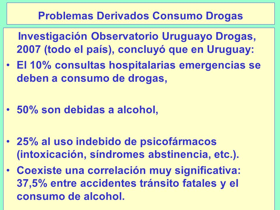 Problemas Derivados Consumo Drogas