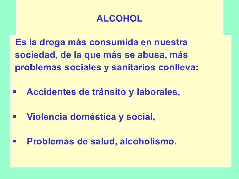 ALCOHOL Es la droga más consumida en nuestra