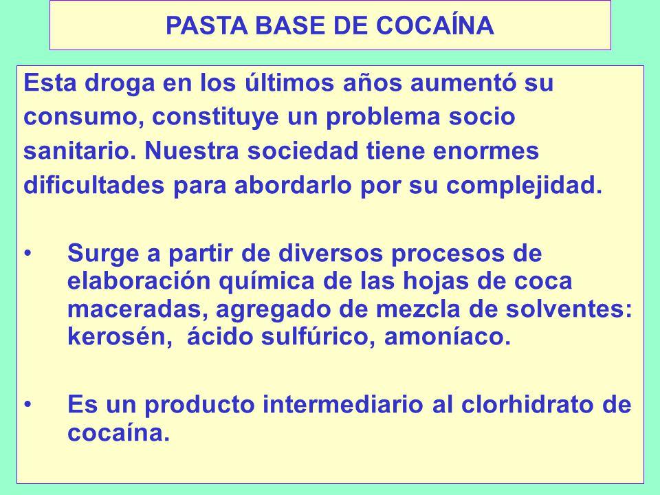 PASTA BASE DE COCAÍNA Esta droga en los últimos años aumentó su. consumo, constituye un problema socio.