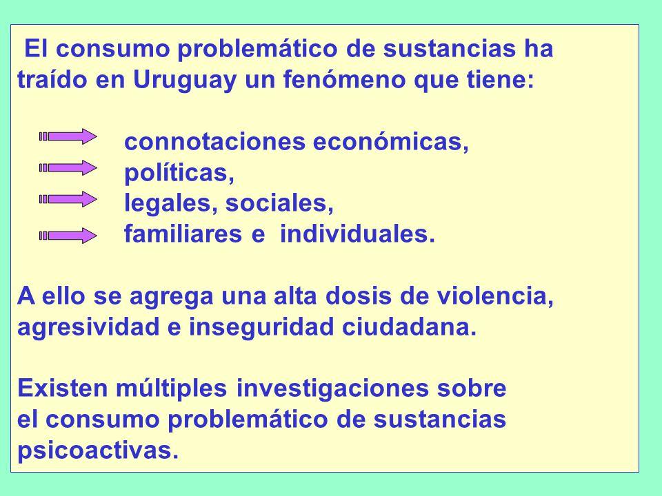 El consumo problemático de sustancias ha traído en Uruguay un fenómeno que tiene: connotaciones económicas, políticas, legales, sociales, familiares e individuales.