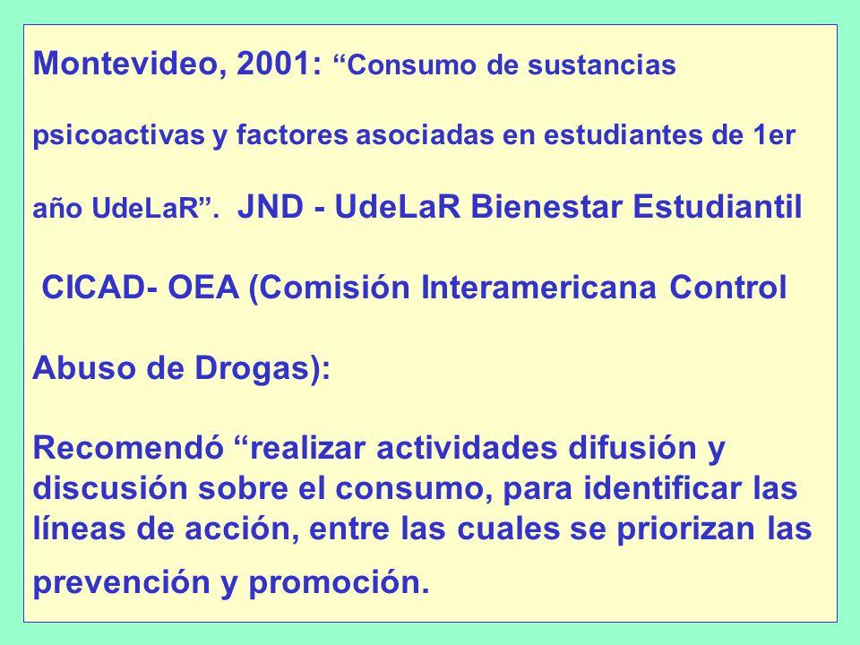 Montevideo, 2001: Consumo de sustancias psicoactivas y factores asociadas en estudiantes de 1er año UdeLaR .