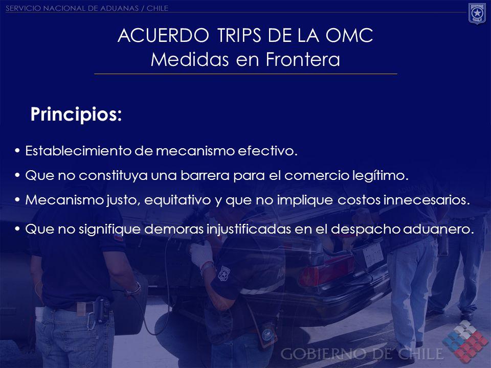 ACUERDO TRIPS DE LA OMC Medidas en Frontera Principios: