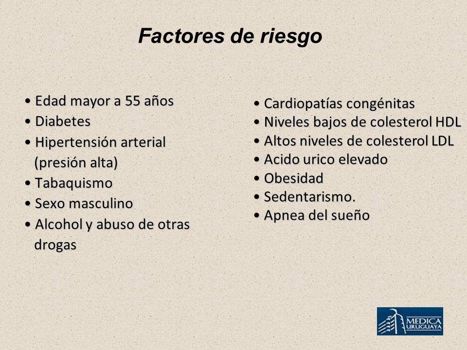 Factores de riesgo Edad mayor a 55 años Cardiopatías congénitas