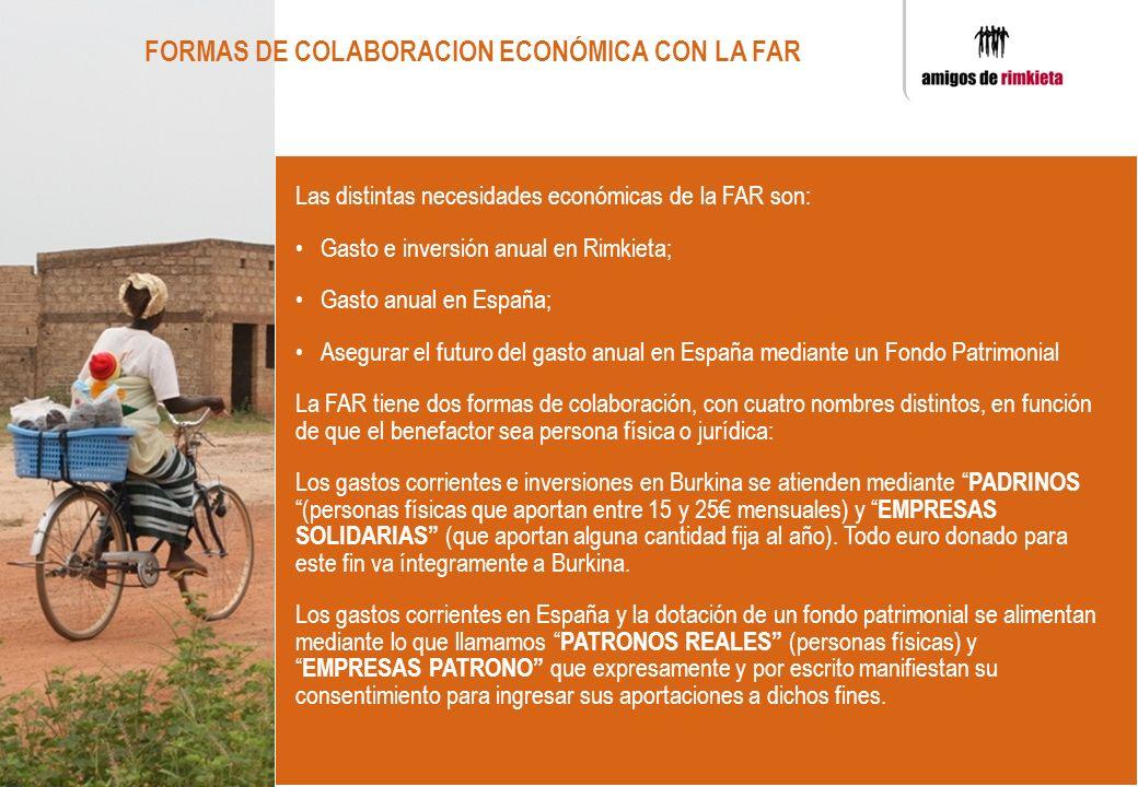 FORMAS DE COLABORACION ECONÓMICA CON LA FAR