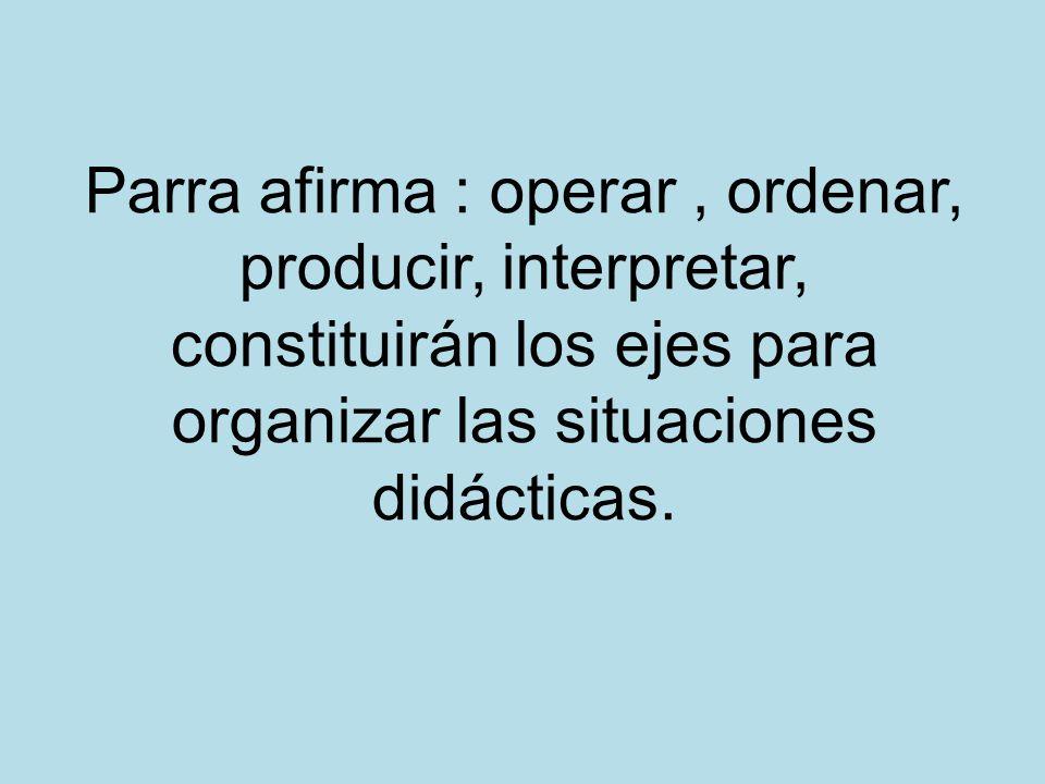 Parra afirma : operar , ordenar, producir, interpretar, constituirán los ejes para organizar las situaciones didácticas.