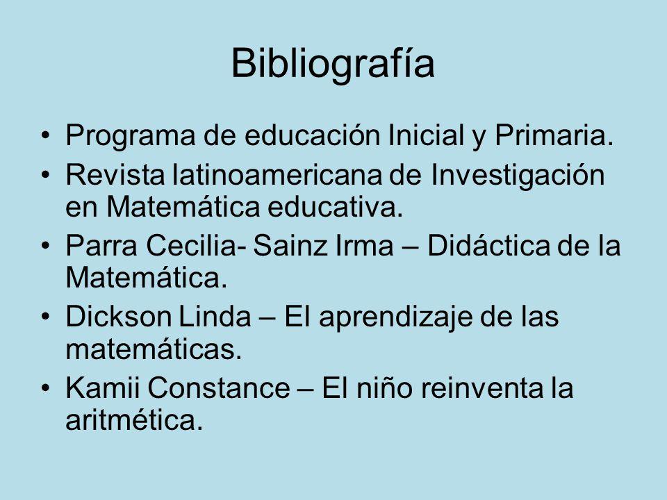 Bibliografía Programa de educación Inicial y Primaria.