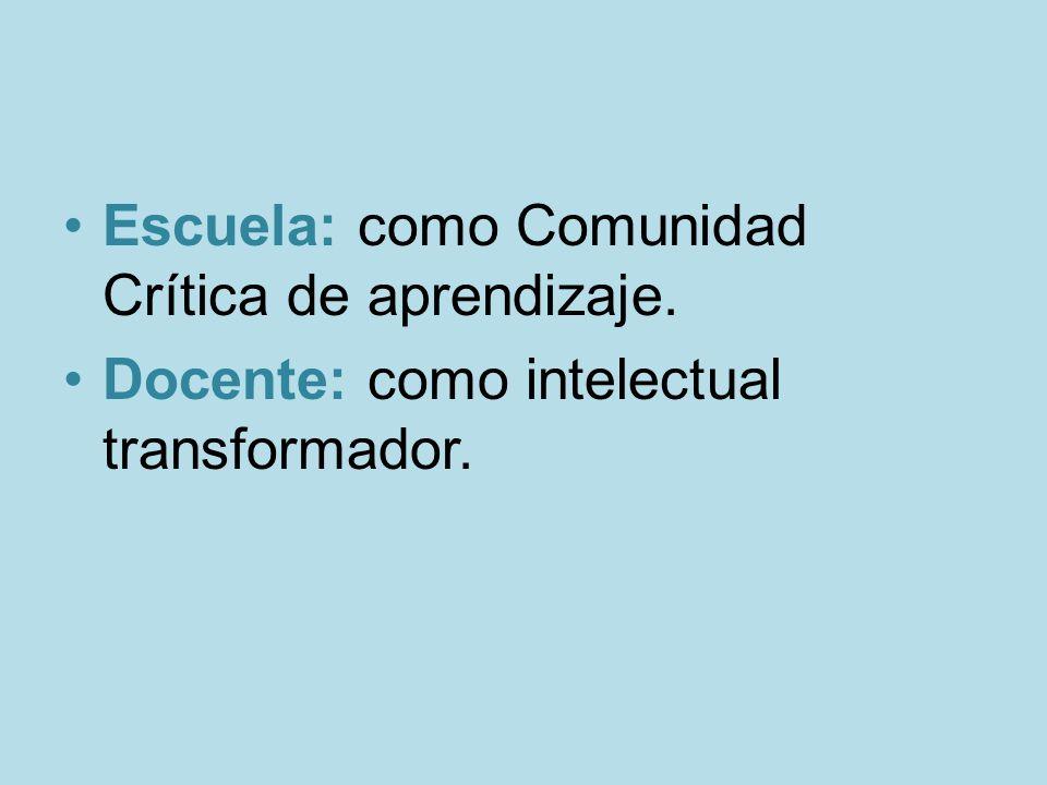 Escuela: como Comunidad Crítica de aprendizaje.