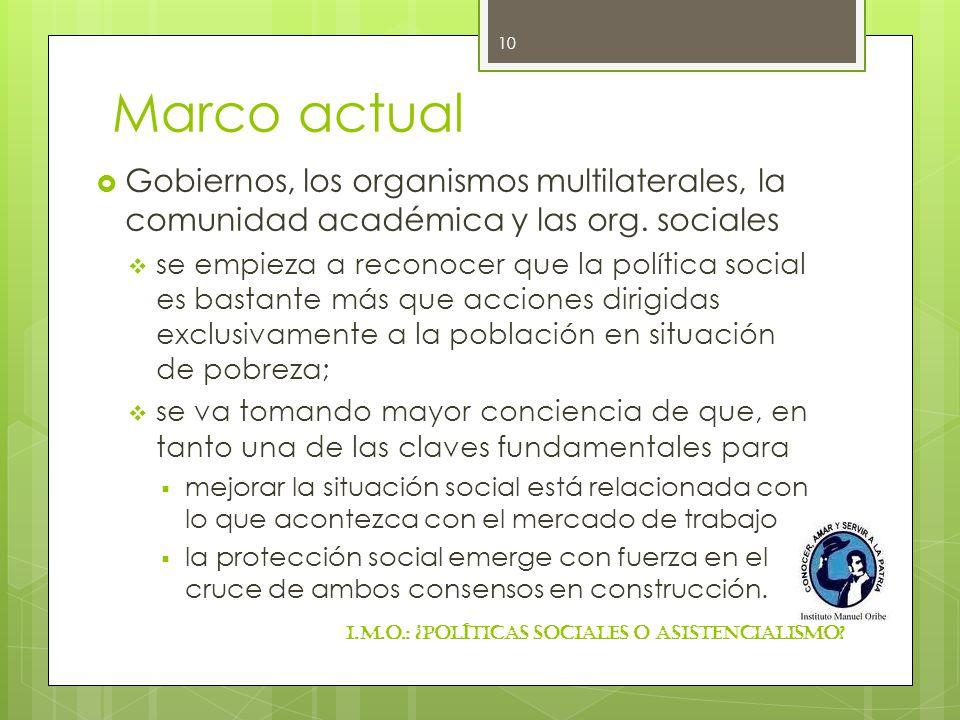 Marco actual Gobiernos, los organismos multilaterales, la comunidad académica y las org. sociales.