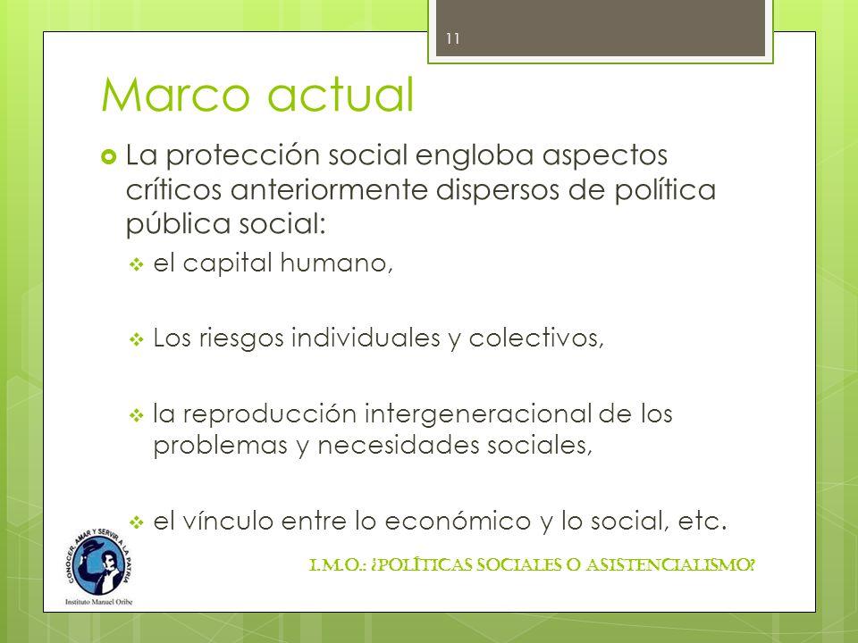 Marco actual La protección social engloba aspectos críticos anteriormente dispersos de política pública social: