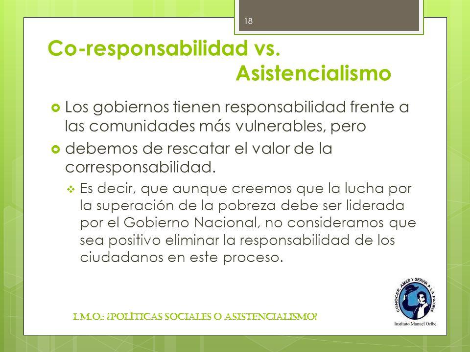 Co-responsabilidad vs. Asistencialismo