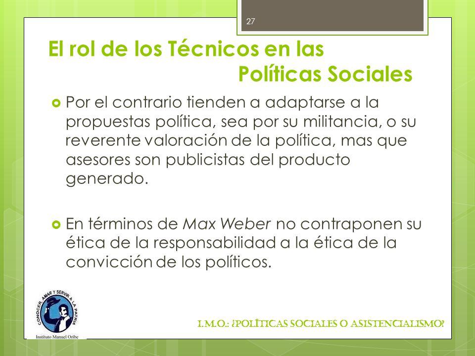 El rol de los Técnicos en las Políticas Sociales