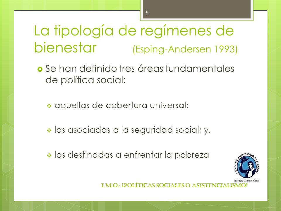 La tipología de regímenes de bienestar (Esping-Andersen 1993)