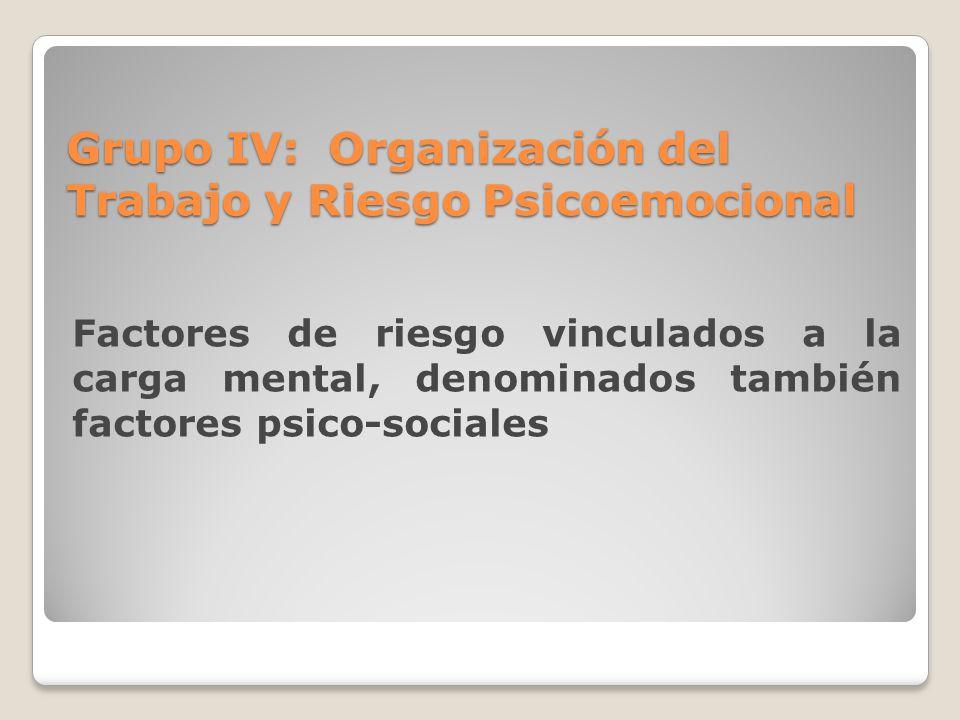 Grupo IV: Organización del Trabajo y Riesgo Psicoemocional