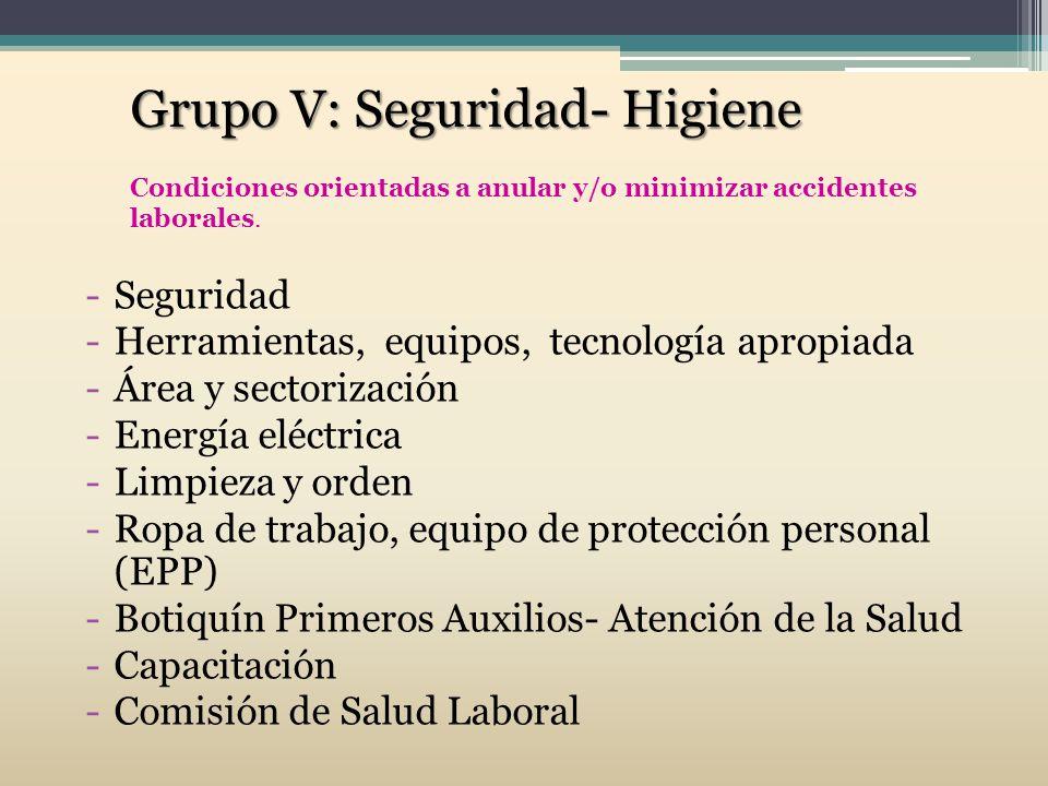Grupo V: Seguridad- Higiene