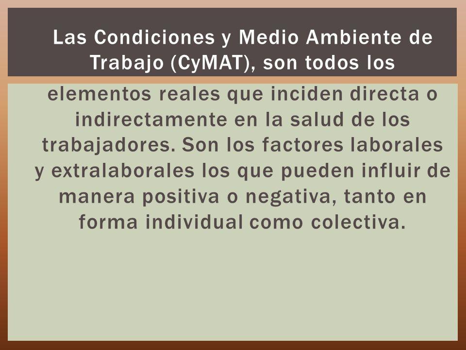 Las Condiciones y Medio Ambiente de Trabajo (CyMAT), son todos los elementos reales que inciden directa o indirectamente en la salud de los trabajadores.