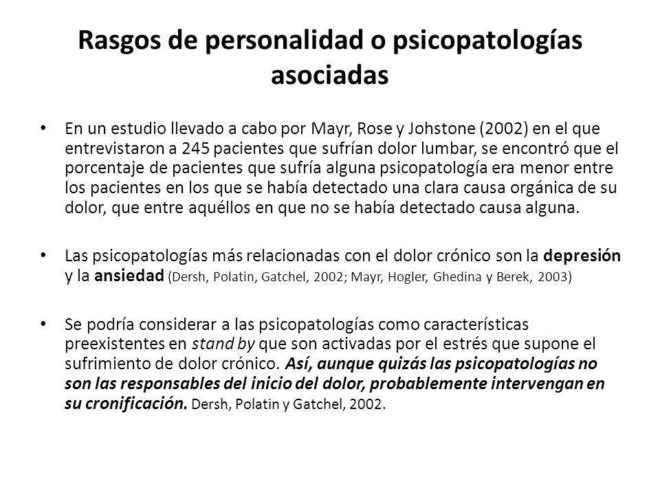 Rasgos de personalidad o psicopatologías asociadas