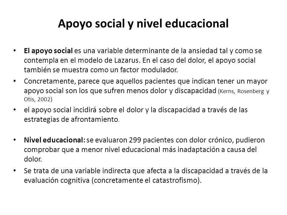Apoyo social y nivel educacional