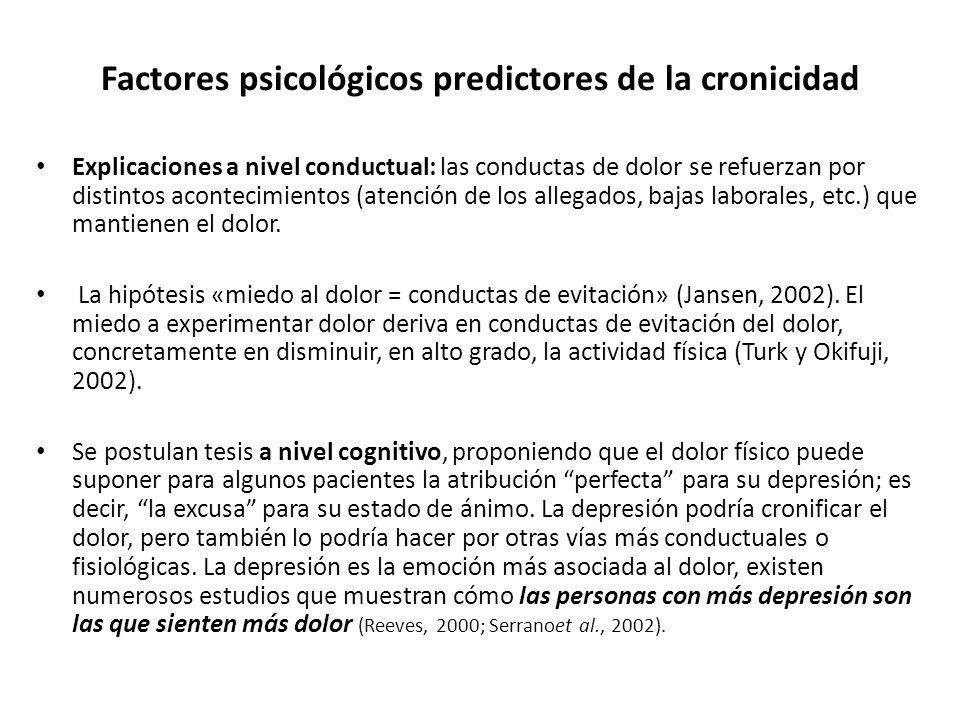 Factores psicológicos predictores de la cronicidad