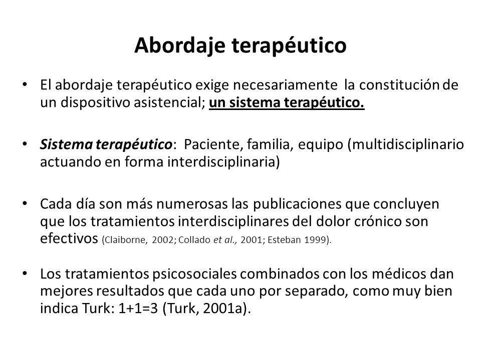 Abordaje terapéutico El abordaje terapéutico exige necesariamente la constitución de un dispositivo asistencial; un sistema terapéutico.