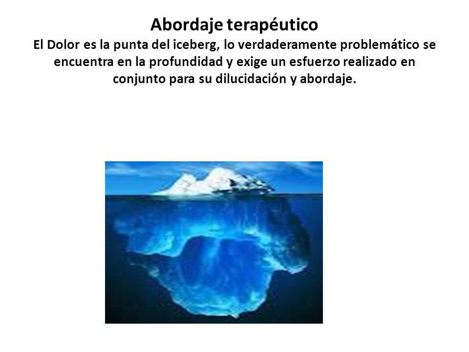Abordaje terapéutico El Dolor es la punta del iceberg, lo verdaderamente problemático se encuentra en la profundidad y exige un esfuerzo realizado en conjunto para su dilucidación y abordaje.
