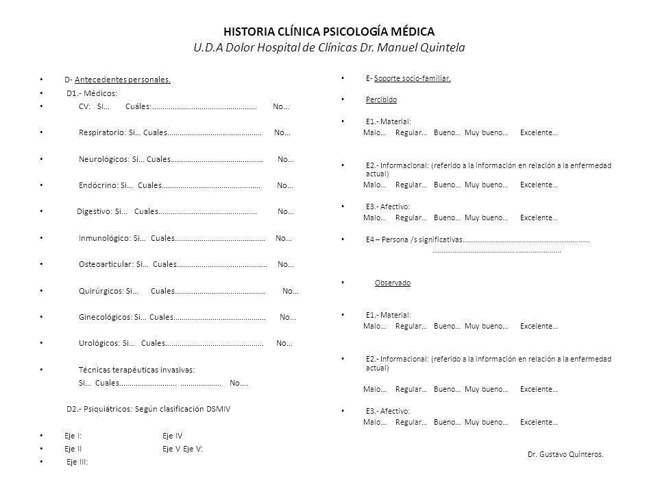 HISTORIA CLÍNICA PSICOLOGÍA MÉDICA U. D