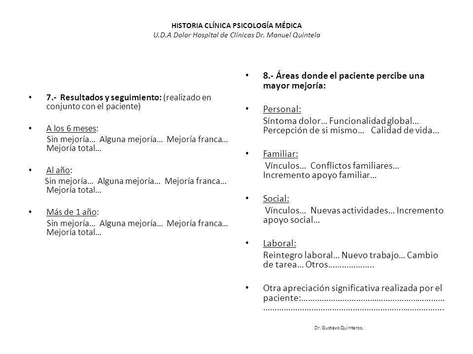 8.- Áreas donde el paciente percibe una mayor mejoría: Personal: