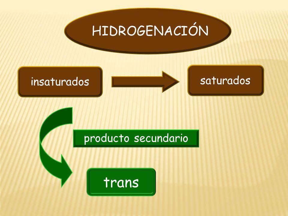 HIDROGENACIÓN insaturados saturados producto secundario trans