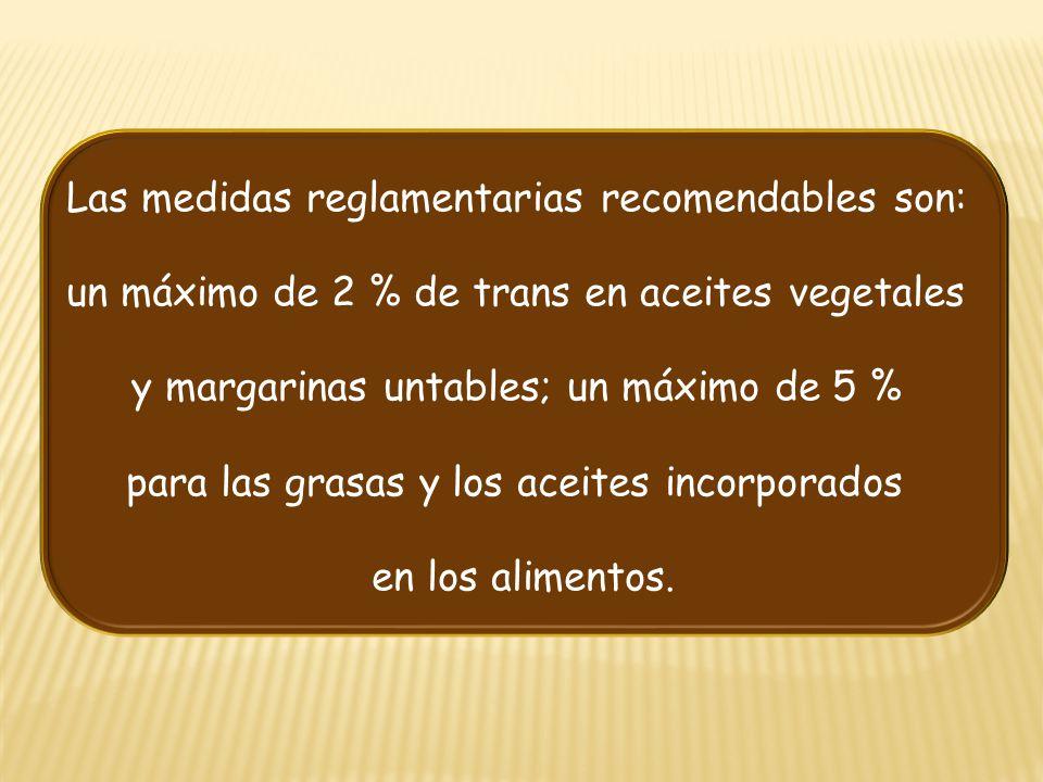 Las medidas reglamentarias recomendables son: