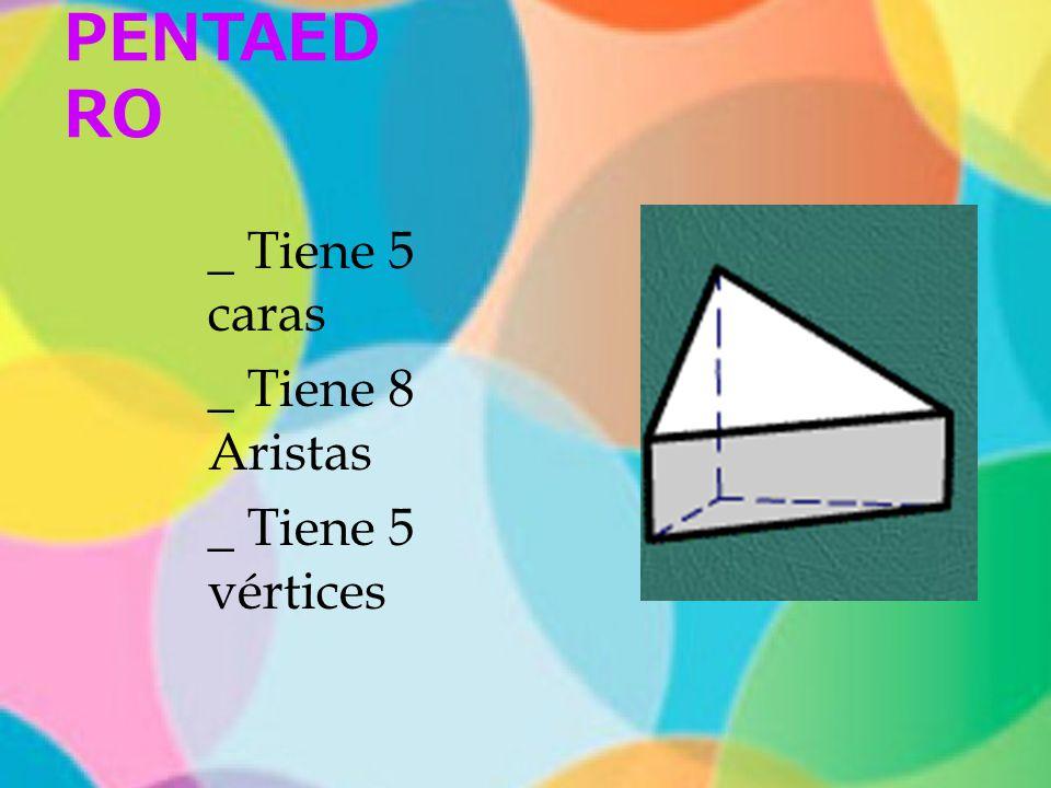 PENTAEDRO _ Tiene 5 caras _ Tiene 8 Aristas _ Tiene 5 vértices