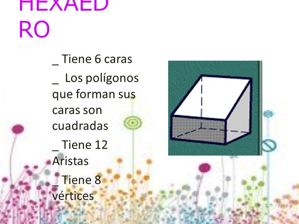 HEXAEDRO _ Tiene 6 caras. _ Los polígonos que forman sus caras son cuadradas. _ Tiene 12 Aristas.
