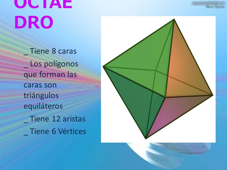 OCTAEDRO _ Tiene 8 caras. _ Los polígonos que forman las caras son triángulos equiláteros. _ Tiene 12 aristas.