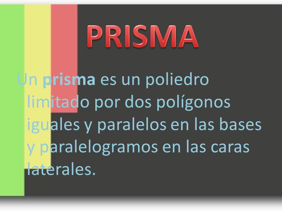 PRISMA Un prisma es un poliedro limitado por dos polígonos iguales y paralelos en las bases y paralelogramos en las caras laterales.