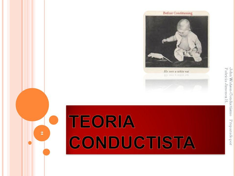 TEORIA CONDUCTISTA John Watson-Conductismo Preparado por Patricia Jimenez H.