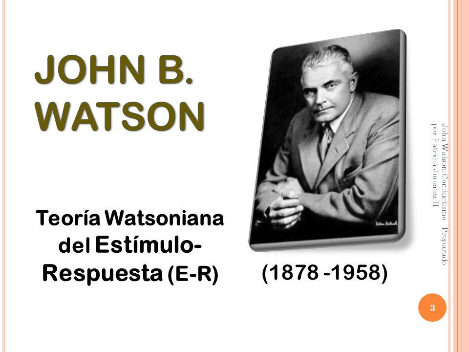 Teoría Watsoniana del Estímulo-Respuesta (E-R)