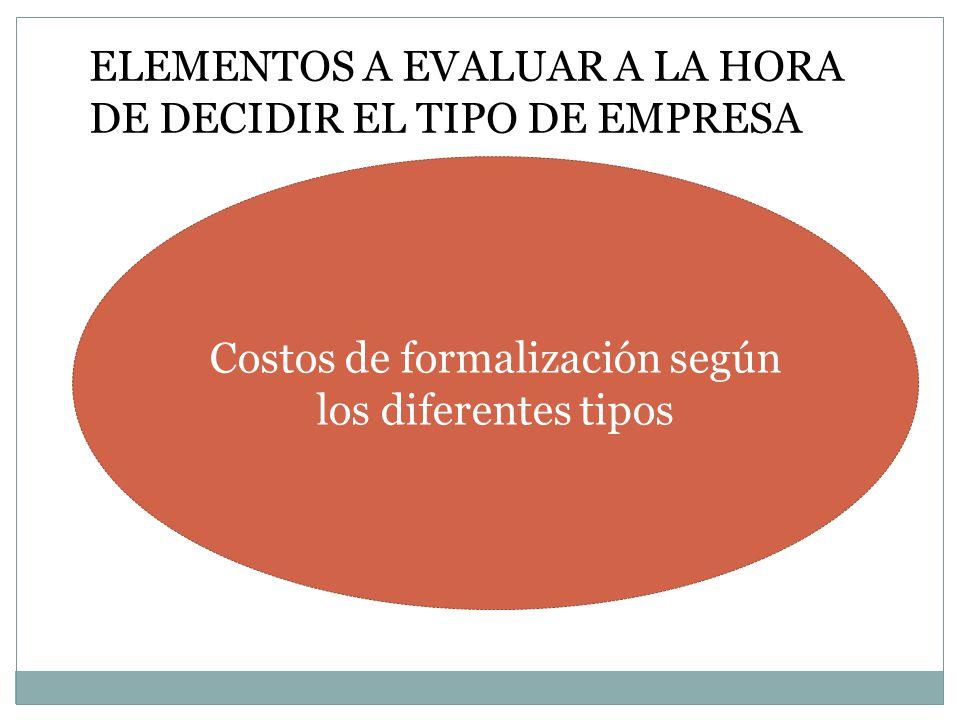 Costos de formalización según los diferentes tipos