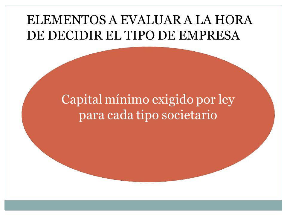 Capital mínimo exigido por ley para cada tipo societario