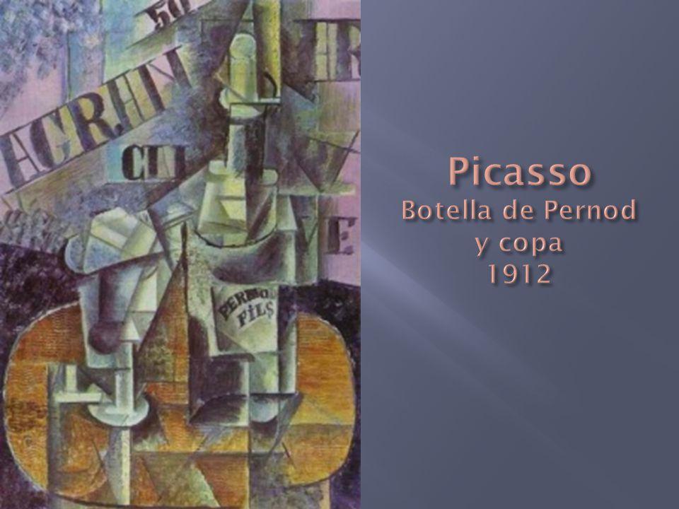 Picasso Botella de Pernod y copa 1912