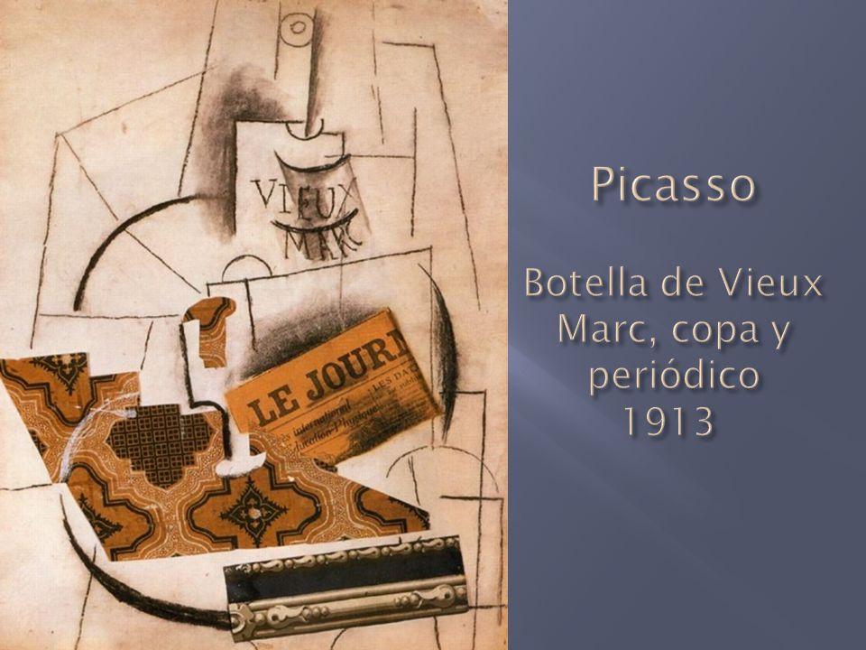Picasso Botella de Vieux Marc, copa y periódico 1913