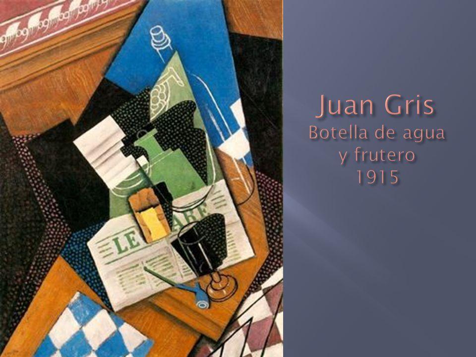 Juan Gris Botella de agua y frutero 1915