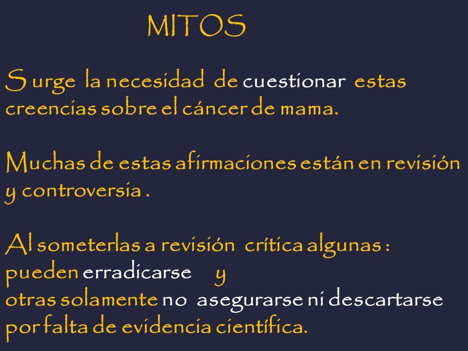 MITOS S urge la necesidad de cuestionar estas creencias sobre el cáncer de mama. Muchas de estas afirmaciones están en revisión y controversia .