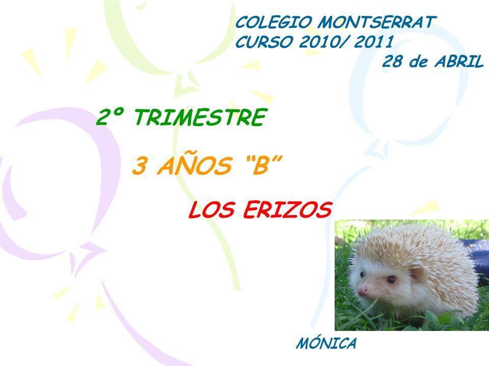 3 AÑOS B 2º TRIMESTRE LOS ERIZOS COLEGIO MONTSERRAT CURSO 2010/ 2011
