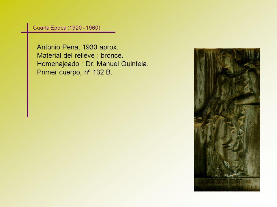 Material del relieve : bronce. Homenajeado : Dr. Manuel Quintela.