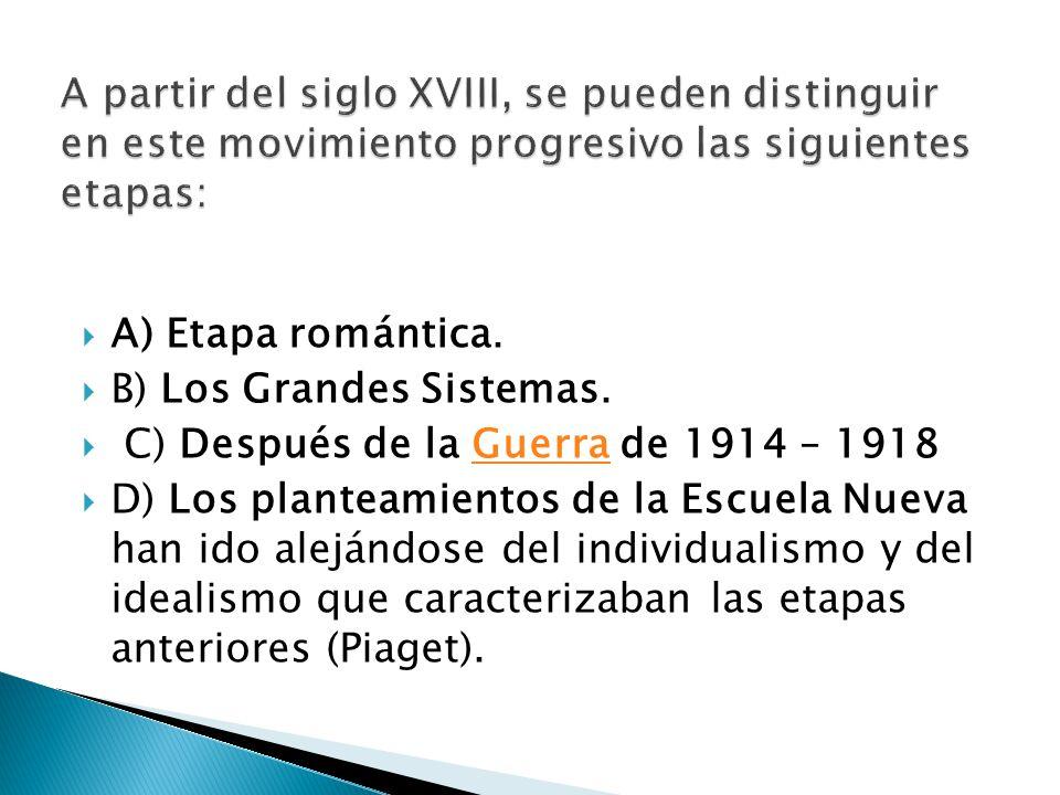 A partir del siglo XVIII, se pueden distinguir en este movimiento progresivo las siguientes etapas:
