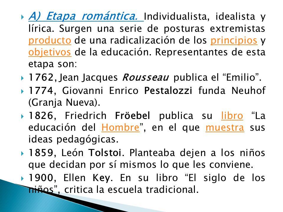 A) Etapa romántica. Individualista, idealista y lírica