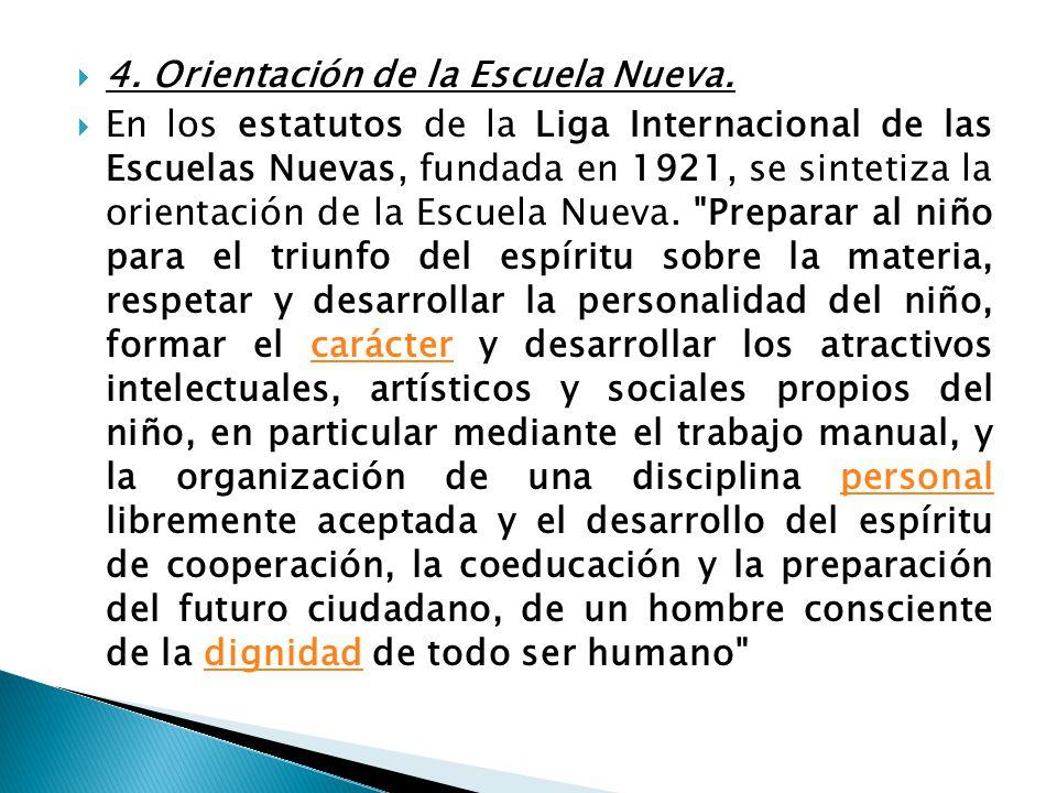 4. Orientación de la Escuela Nueva.