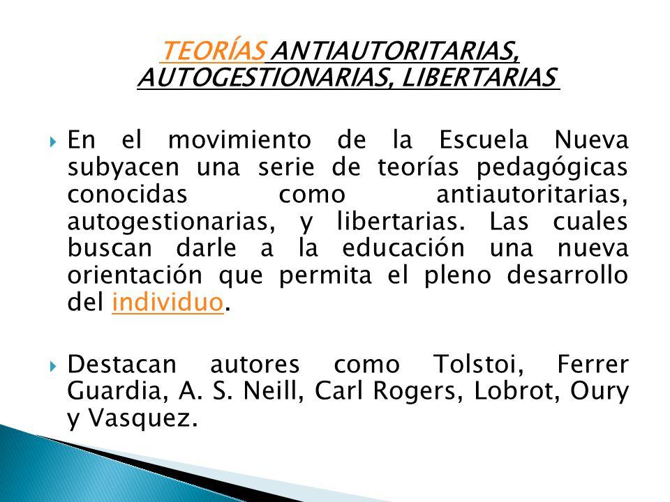 TEORÍAS ANTIAUTORITARIAS, AUTOGESTIONARIAS, LIBERTARIAS
