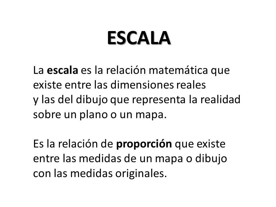 ESCALA La escala es la relación matemática que existe entre las dimensiones reales.
