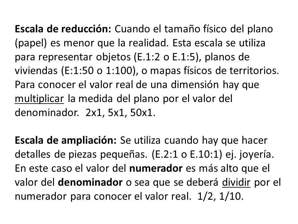 Escala de reducción: Cuando el tamaño físico del plano (papel) es menor que la realidad. Esta escala se utiliza para representar objetos (E.1:2 o E.1:5), planos de viviendas (E:1:50 o 1:100), o mapas físicos de territorios.
