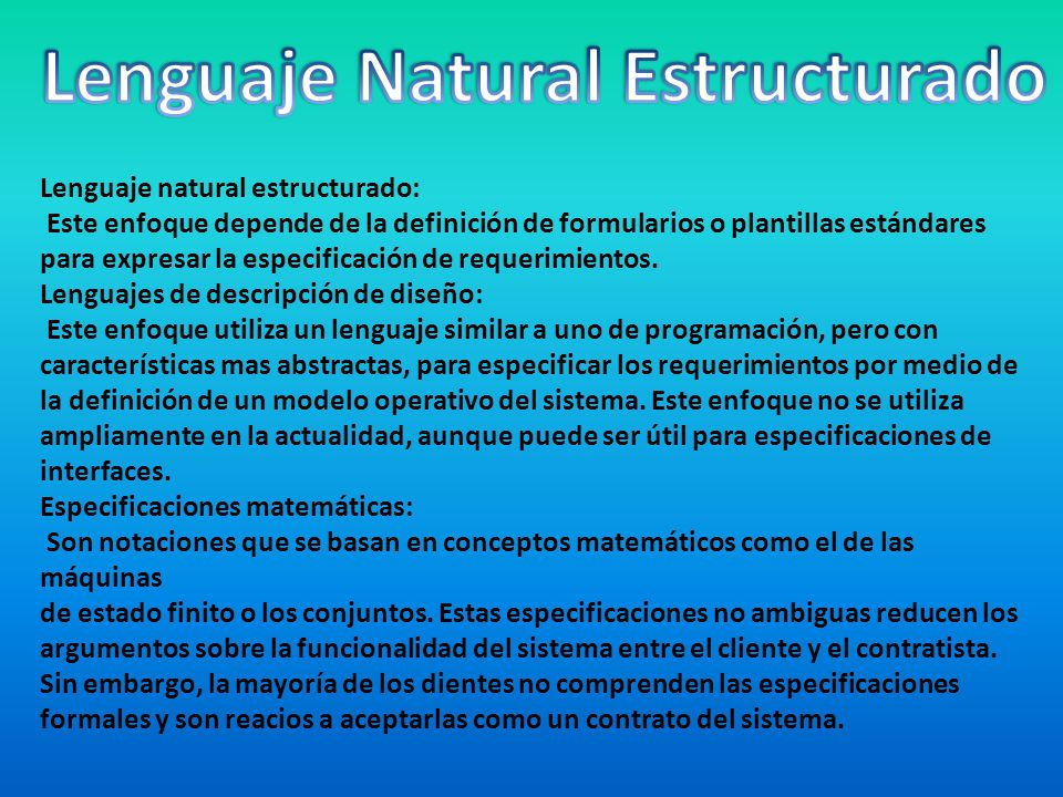 Lenguaje Natural Estructurado